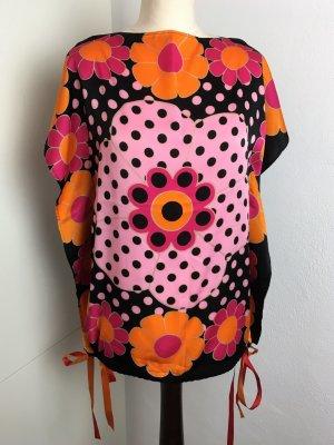 * LA PERLA * NEU ! leichte Tunika bunt Blumendruck schwarz orange pink Gr 38 M