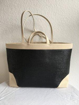 La perla Borsa shopper nero-sabbia Tessuto misto