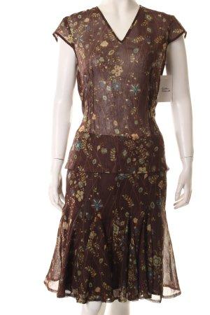 la rochelle Kostüm braun-hellgrün florales Muster Transparenz-Optik