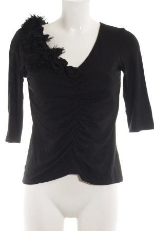 la rochelle Blouse à volants noir style simple