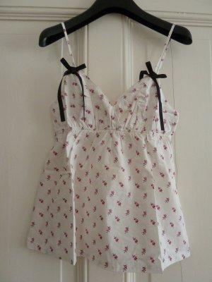 La Senza Negligee Nachtwäsche Pyjamaoberteil Homewear Top weiß geblümt Rose Gr. S NEU mit Etikett