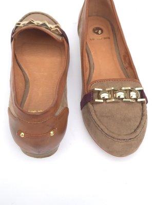 La Strada Ballerinas Mokassins Halbschuhe Leder Vintage Gr 39 braun gold Blogger