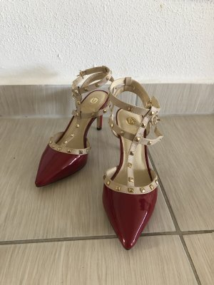 La Strada Strapped High-Heeled Sandals raspberry-red-red