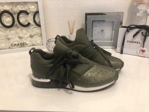 La Strada Turnschuhe Sneaker Schuhe 39 Neu Khaki Olivgrün Glitzer