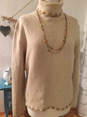 La Tricot Longhin Rollkragenpullover Wolle -Seide beige Größe L-XL