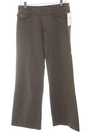 Label 23 Stoffhose hellbraun-wollweiß Streifenmuster Business-Look