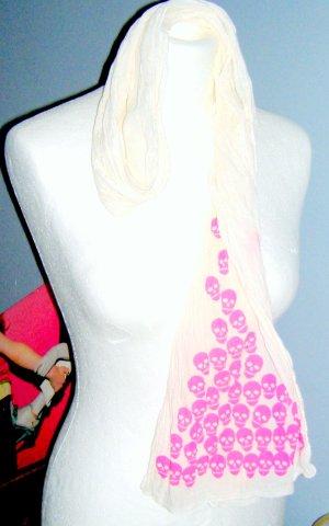 """Label """"Hüftgold"""" Crinkle Scarf white Cotton pink Skulls"""
