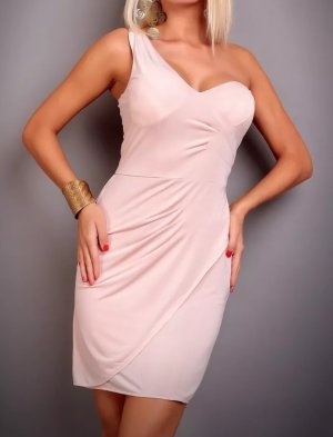 Label- One Shoulder Kleid Beige Neu ! Gr S