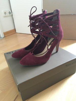 Tamaris Strapped High-Heeled Sandals bordeaux-purple