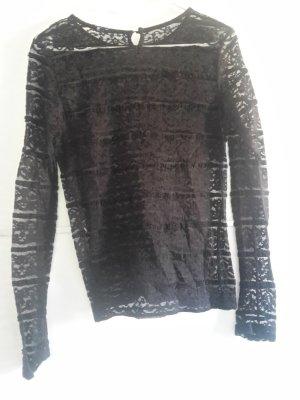 Lace Shirt schwarz Langarm Spitze transparent