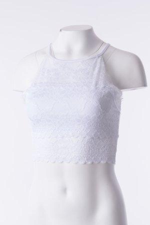 Lace Top Weiß mit Spitzenbesatz (One Size)