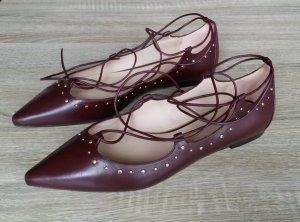 Massimo Dutti Ballerines à lacets bordeau-brun rouge cuir