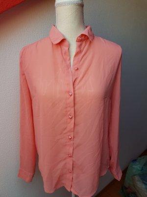 Lachsfarbene Bluse mit Herzchen; Gr. S