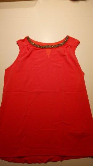 Lachsfarbene Bluse mit kurzen Armen