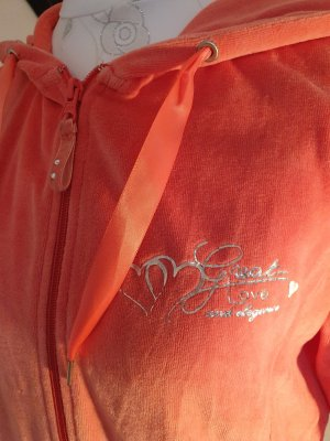 lachsfarbene süße Sweater-Samtjacke mit Kapuze, Größe 38