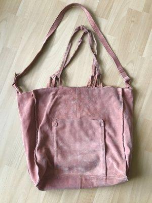 Lachsfarbene Wildledertasche