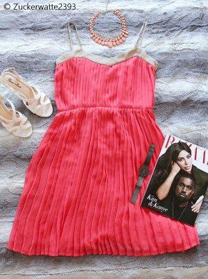 ♥ Lachsfarbenes Mango Suit Business Sommer Kleid rot rosa lachs plissiert ♥