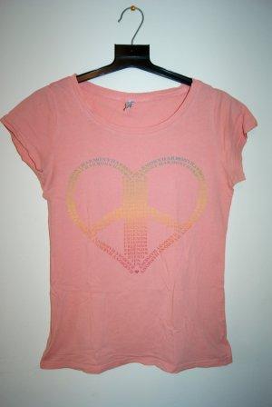 lachsfarbenes Shirt mit Herzprint