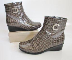 Lack Kroko Stiefel Gr. 41 la mia Grau Schwarz Strass Schnalle Keilstiefel Ankle Boots Stiefeletten