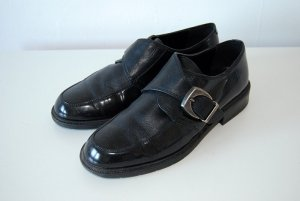 lack leder flats loafers halbschuhe 39 schwarz clean chic goth