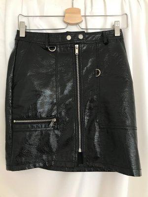 Vila Leather Skirt black-silver-colored