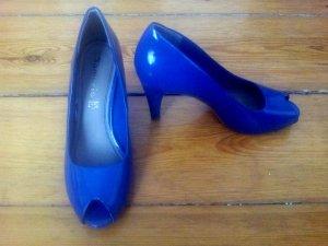 Lack Pumps blau, Peeptoe, 50er, Tamaris