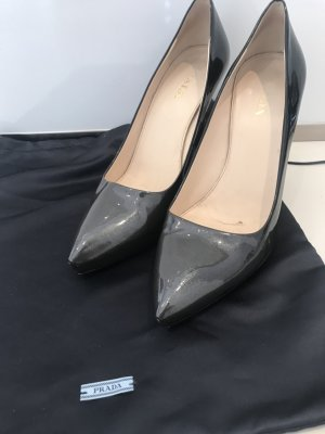 Prada High Heels grey-black leather