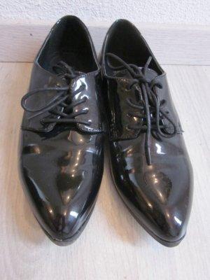 Lack Schnür - Schuhe schwarz Gr 38 Spitz