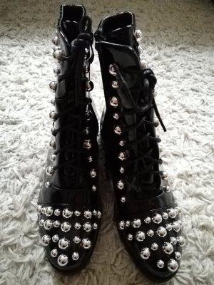 Lack Stiefel 36 Perlen Silber
