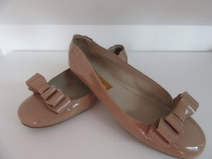 AGL Patent Leather Ballerinas nude-oatmeal leather