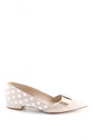 Patent Leather Ballerinas cream-white spot pattern business style