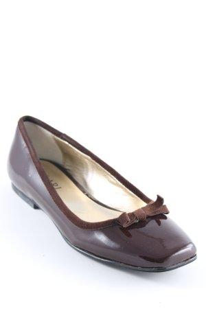 Lakleren ballerina's zwart bruin klassieke stijl