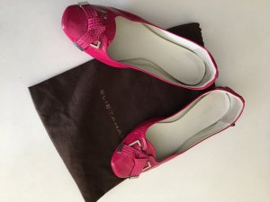 Elie Tahari Patent Leather Ballerinas raspberry-red leather