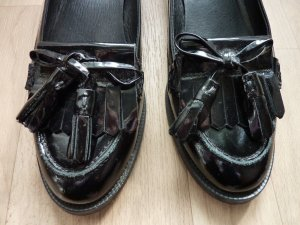 Lackleder Flats Quastenschuhe Flache Schuhe Topshop LOAFER schwarz 39 40 Bloggerstyle