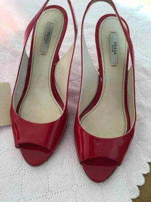 Lackleder, Rot, Peeptoe von Prada
