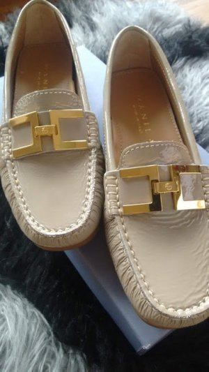 Slippers gold-colored-sand brown leather