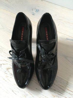 Lackleder Schwarze ankle- Boots von Prada