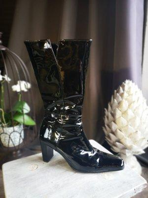 Lackleder Stiefel von Gabor NP 169 € Gr 37 Stiefeletten Echtleder schwarz