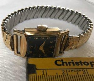 Horloge met metalen riempje goud-zwart Metaal