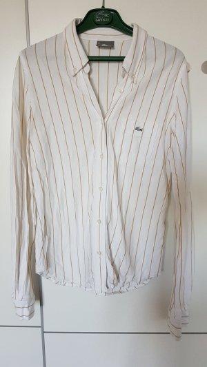 Lacoste Bluse, weiss mit braunen Streifen, Gr 36
