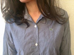 Lacoste Stand-Up Collar Blouse blue-white