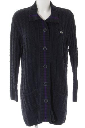 Lacoste Cárdigan de punto grueso azul oscuro-violeta oscuro look casual