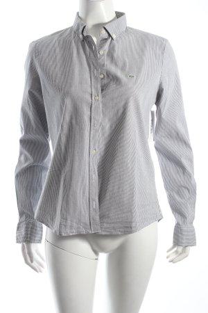 Lacoste Hemd-Bluse dunkelgrau-weiß Streifenmuster klassischer Stil