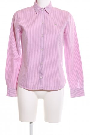 Lacoste Hemd-Bluse pink-lila Streifenmuster Logo-Applikation