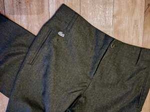 Lacoste Woolen Trousers green grey-dark green wool