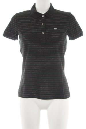 Lacoste Camisa de manga corta negro rayas horizontales estilo clásico