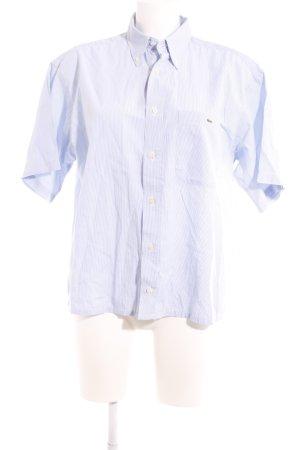 Lacoste Kurzarmhemd weiß-himmelblau Streifenmuster Casual-Look