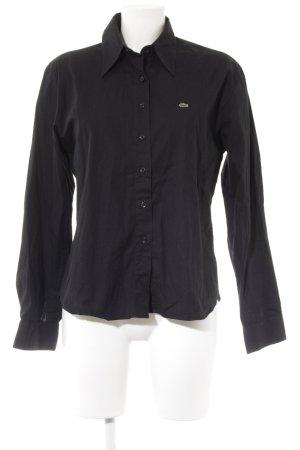 Lacoste Camisa de manga larga negro tejido mezclado
