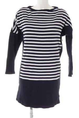 Lacoste Pull long bleu foncé-blanc motif rayé style décontracté