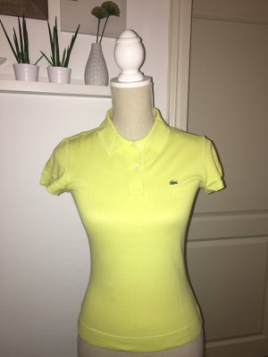 Lacoste Polo Shirt Poloshirt Gr. 36 S XS talliert neon gelb grün